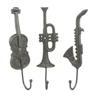 Silver Finish Musical Instruments 3 Piece Metal Wall Hook Set - 10.5 X 3 X 2 inches
