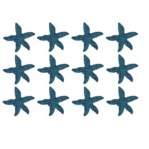 Blue Cast Iron Starfish Drawer Pull Set of 12 - 2.5 X 2.75 X 1.75 inches