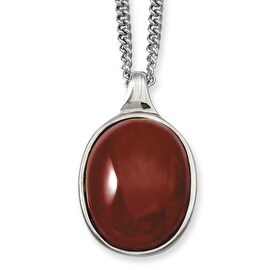 Stainless Steel Red Agate Pendant 18in Necklace (2 mm) - 18 in
