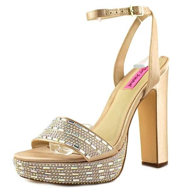 Betsey Johnson Alliie Women Open Toe Canvas Gold Sandals