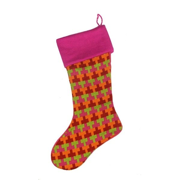 """18.5"""" Fuchsia Multi-Colored Knitted """"T"""" Pattern Christmas Stocking"""
