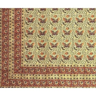 Handmade Cotton Hand Block Print Butterfly Tapestry Tablecloth Spread Twin Green