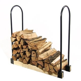 Sunnydaze Steel Adjustable Firewood Log Rack Bracket Kit- Adjusts Up to 16 Feet Wide - Black