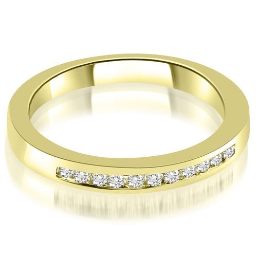 0.15 cttw. 14K Yellow Gold Classic Channel Round Cut Diamond Wedding Band