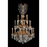 Worldwide Lighting W83311FG38-CL Windsor 25-Light Candle Style Crystal Chandelier - french gold