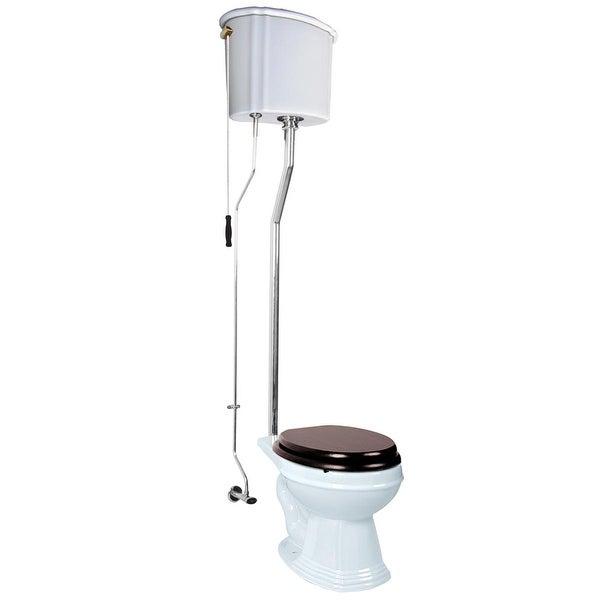 Renovator's Supply Chrome L-Pipe White High Tank Pull Chain Toilet