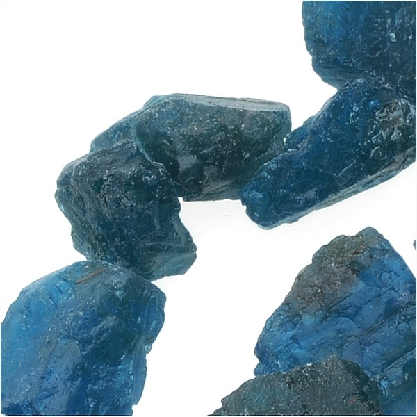 Rough Apatite Gemstones, 7-10mm Nuggets, 14.5 Inch Strand, Teal Blue