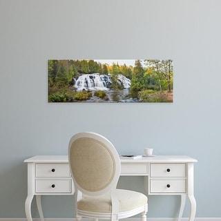 Easy Art Prints Panoramic Image 'Waterfall, forest, Bond Falls, Ontonagon River, Ontonagon County, Michigan' Canvas Art