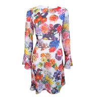 Betsey Johnson Women's Bell-Sleeve Floral-Print A Line Dress  (4, Ivory/Multi) - Ivory/Multi - 4