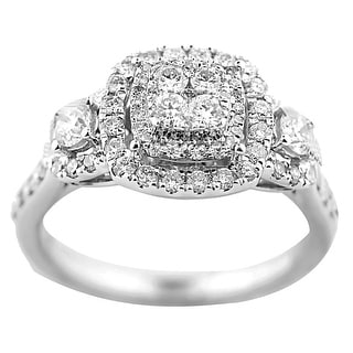 10K White Gold Diamond Engagement Ring 0.95ctw 11mm Wide 3 Style Style By MidwestJewellery