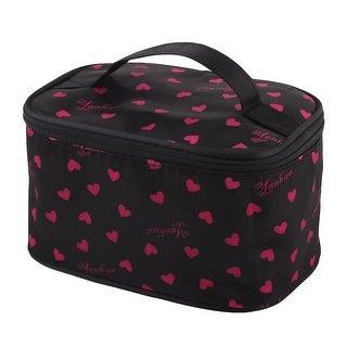 Outside Woman Polyester Heart Pattern Zipper Closure Cosmetics Makeup Handbag
