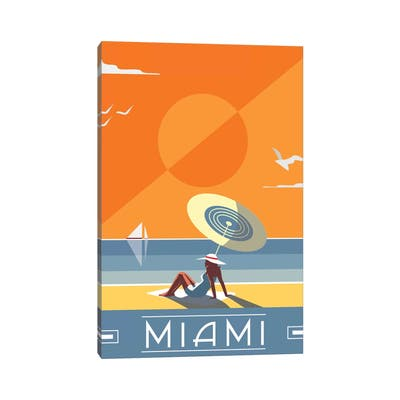 """iCanvas """"Miami"""" by Fly Graphics Canvas Print"""