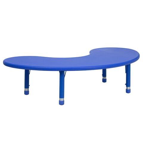 "35""Wx65""L Half-Moon Plastic Adjustable Activity Table-School Table for 8"