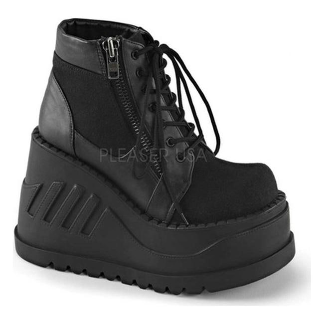 6348d41b842 Shop Demonia Women s Stomp 10 Platform Ankle Boot Black Canvas Vegan  Leather - Free Shipping Today - Overstock - 11376051