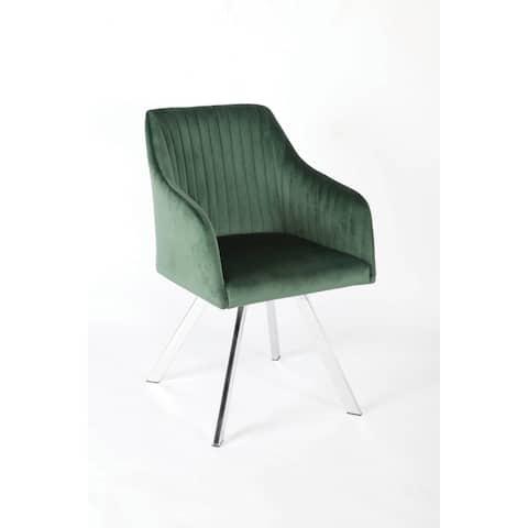 Vallerina Green Channeled Sloped Arm Swivel Chair