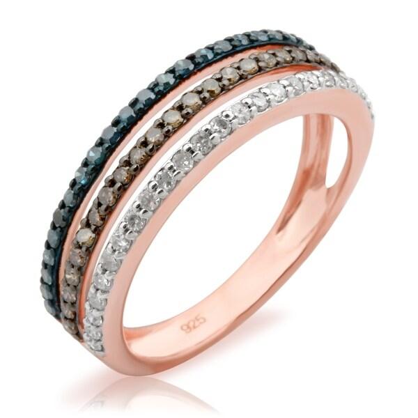 Prism Jewel 1.20MM 0.52Ct Multi Color Diamond Three Row Anniversary Ring - Blue/Brown/White I-J