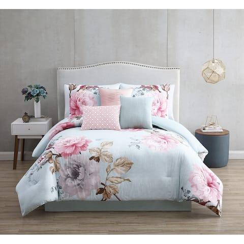 Riverbrook Home Ridgely Blush 100 Percent Cotton 7 Piece Comforter Set