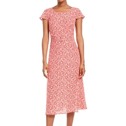 Trixxi Sheath Dress Red Ivory Size XS Juniors Belted Floral-Print