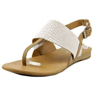Franco Sarto Gesso Women Open-Toe Leather Nude Slingback Sandal