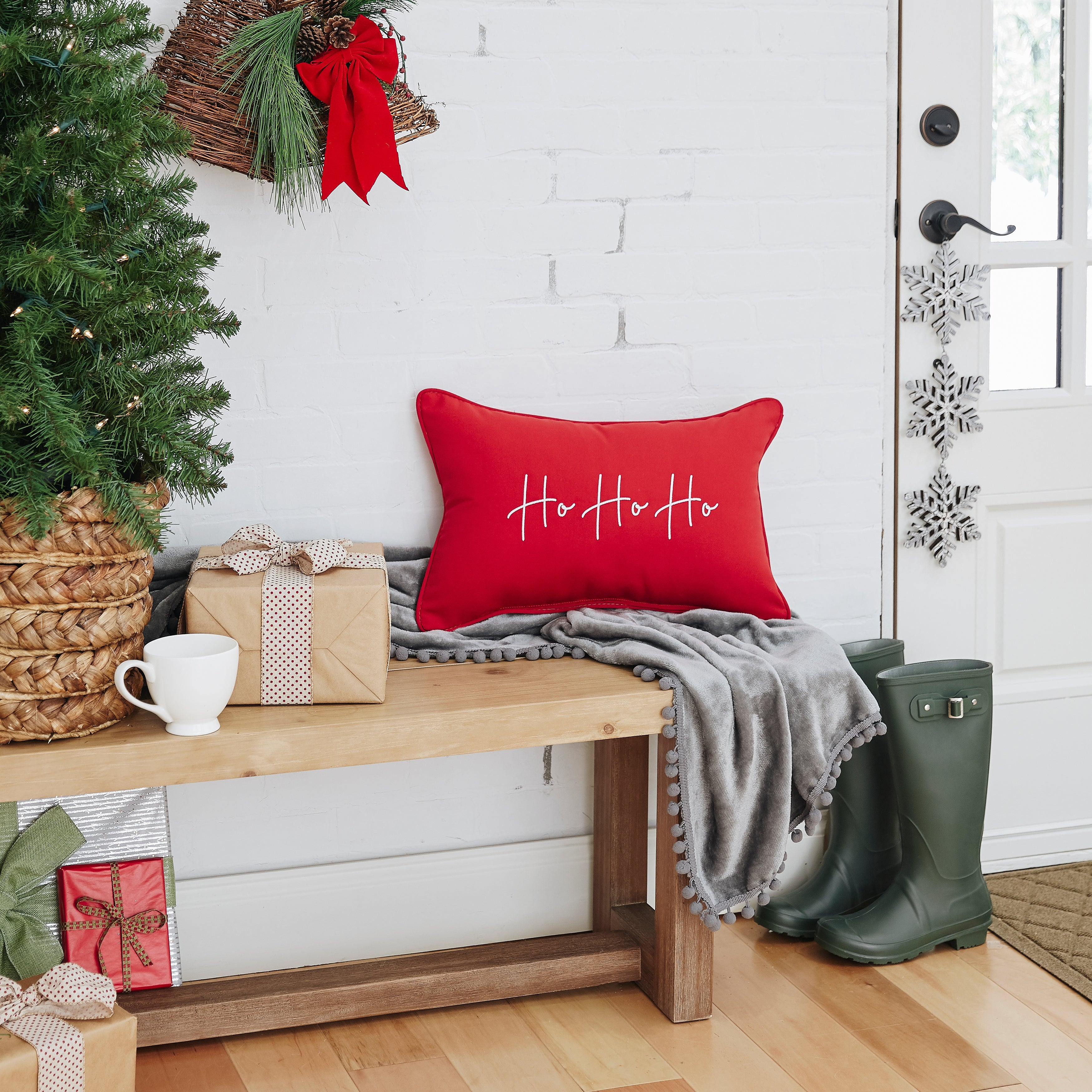 BAH HUMBUG Sunbrella Indoor Outdoor Christmas Pillow Cover Holiday decor|  oba canvas Christmas Decorations Holiday Throw Pillow