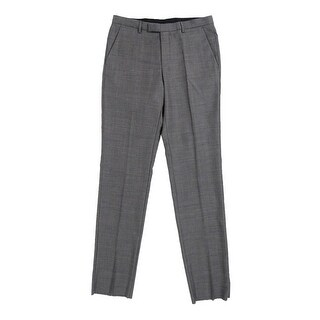 BOSS HUGO BOSS Men's 'Sharp' Flat Front Wool Trousers (32R, Grey) - Grey