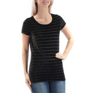 INC Womens Black Velvet Striped Short Sleeve Jewel Neck Top  Size: XS