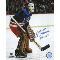 Eddie Giacomin signed New York Rangers 16X20 Color Photo HOF 87