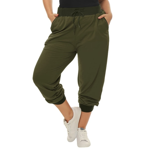 Women Plus Size Drawstring Waist Contrast Color Jogger Pants. Opens flyout.