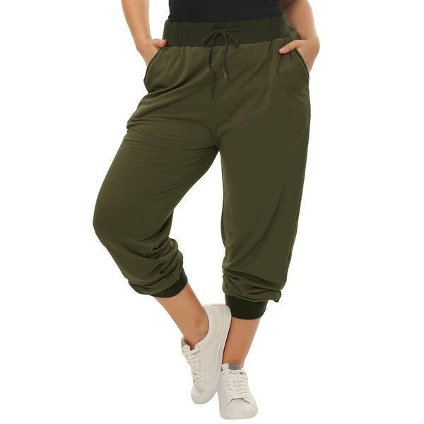 Shop Women Plus Size Drawstring Waist Contrast Color Jogger ...