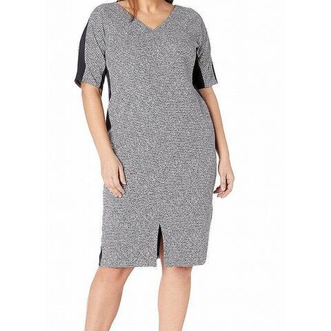 Maggy London Women's Plus Textured Printed Sheath Dress
