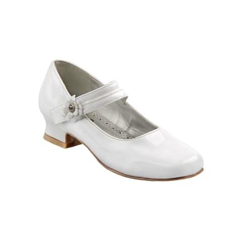 Josmo Big Girls White Patent Flower Mary Jane Dress Shoes