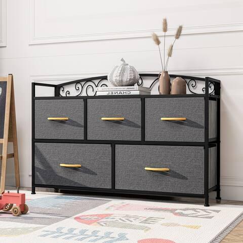 Crestlive Products Wide 5-drawer Storage Cube Dresser with Fabric Bins