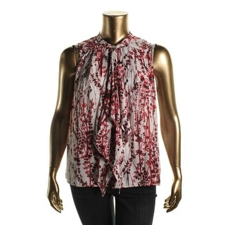 Status by Chenault Womens Bow Sleeveless Button-Down Top