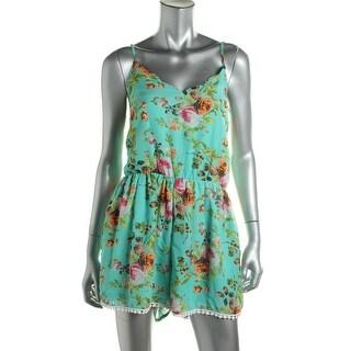 Mimi Chica Womens Chiffon Floral Print Romper - XL