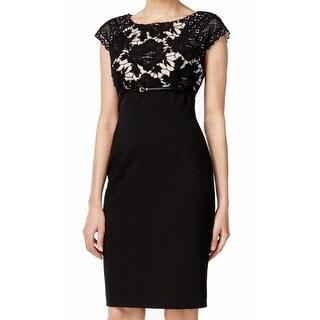 Calvin Klein NEW Black Women's Size 10 Sheath Belted Crochet Dress