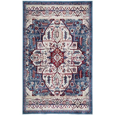 Tranditional White Area Rug Floral Print Carpet Rug