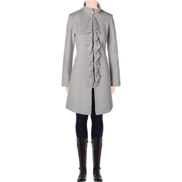 Tahari Womens Kendra Coat Wool Cascade Ruffle