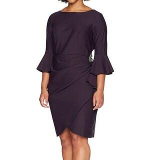 Alex Evenings Purple Womens Size 18W Plus Brooch Sheath Dress