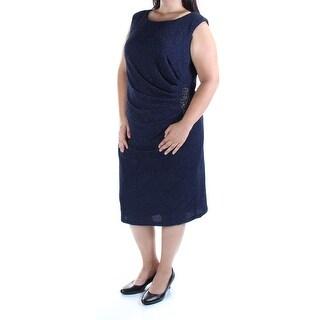 BETSY & ADAM $199 Womens 2508 Navy Gathered Sheath Dress 20W Plus B+B