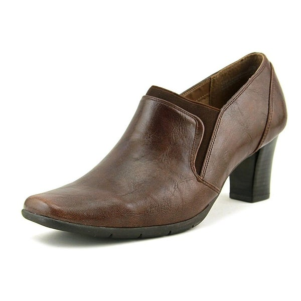 A2 By Aerosoles Diamond Ring Women Square Toe Leather Brown Heels
