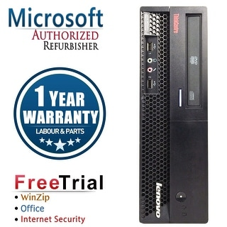 Refurbished Lenovo ThinkCentre M58P SFF Intel Core 2 Quad Q6600 2.4G 8G DDR3 2TB DVDRW Win 7 Pro 1 Year Warranty - Black