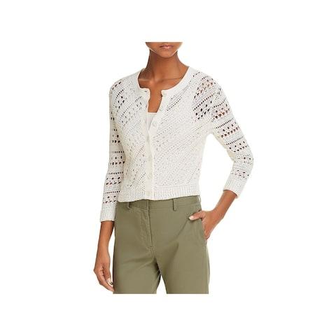 Theory Womens Cardigan Sweater Crochet Button - Ivory - P