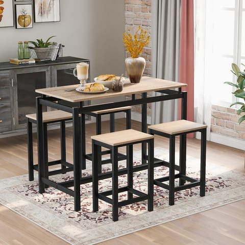 5-Piece Table Set, Industrial Dining Table with 4 Chairs (Oak)