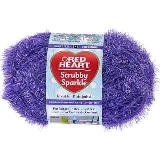 Red Heart Scrubby Sparkle Yarn-Grape - Grape