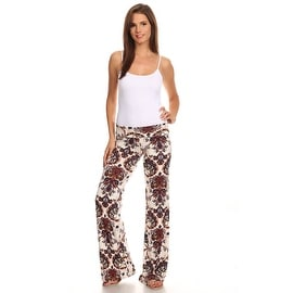 Women's Peacock Burgundy Printed Palazzo Pants Made in USA