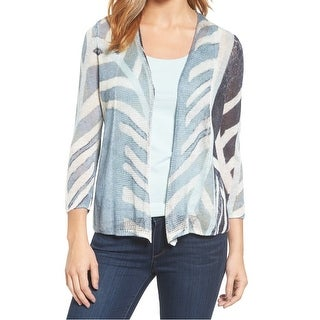 Nic + Zoe NEW Blue Women's Size Large L Striped OpenCardigan Sweater