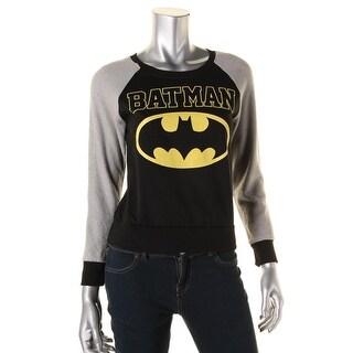 Batman Womens Juniors Long Sleeves Stretch Graphic Tee