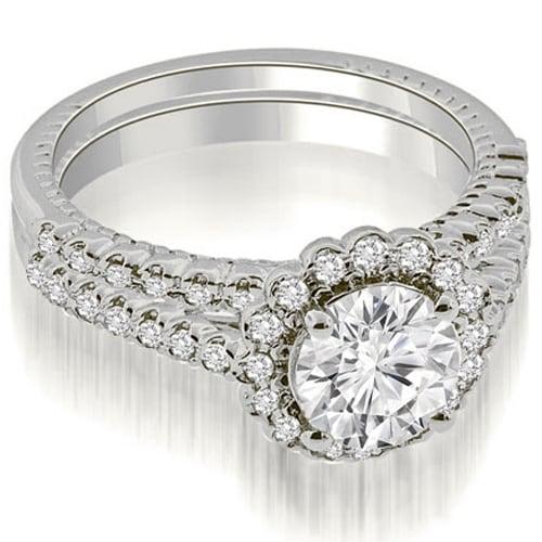 1.69 cttw. 14K White Gold Antique Halo Round Cut Diamond Bridal Set