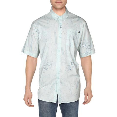 Fox Mens Death Valley Button-Down Shirt Collared Cotton - Aqua - XXL