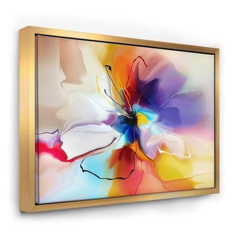 Designart 'Creative Flower in Multiple Colors' Floral Framed Canvas art